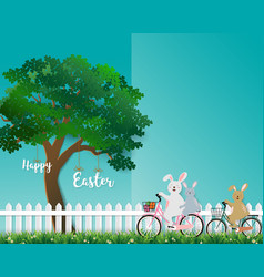 cute rabbits the gang happy in the garden vector image