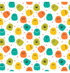 Cute seamless pattern with cartoon smiley monsters vector image