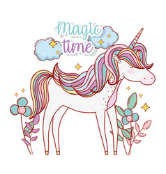 Cute unicorn with flowers and leaves plants vector