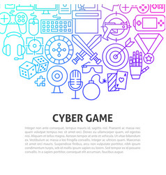 cyber game line concept vector image