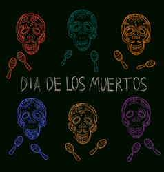 dia de los muertos day of the dead sugar skulls vector image