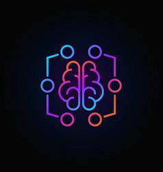 Digital brain colorful icon - machine vector