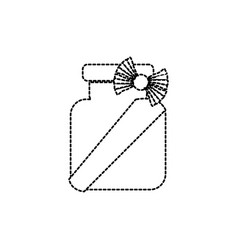 Dotted shape crystal jar with ribbon bow vector