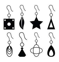 Earrings icon set vector