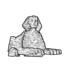 Egyptian sphinx sketch engraving vector