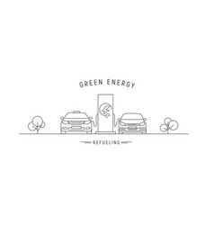 electric charge station with electric cars linear vector image