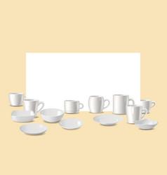 Empty white dishware utensil for bar or vector