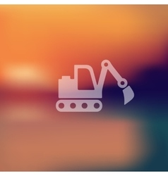 excavator icon on blurred background vector image