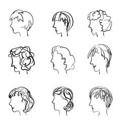 Faces profile with different expressions in retro vector