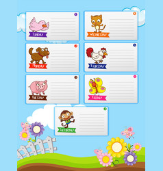 Farm animals and seven days of the week notes vector