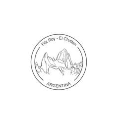 fitz roy mountain in patagonia round stamp logo vector image