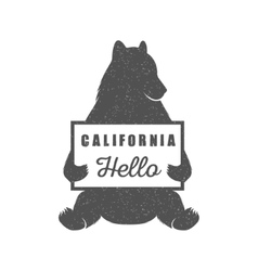 funny hitchhiking bear with california sign vector image