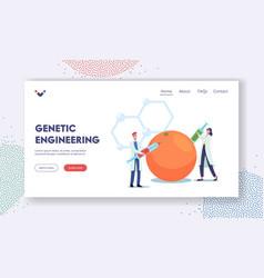 Genetic engineering landing page template vector