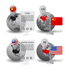 globes with map marker and state flags china vector image