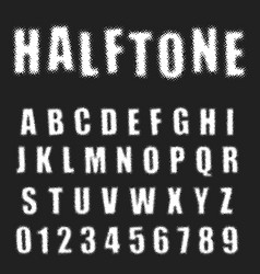 Halftone alphabet font template letters and vector