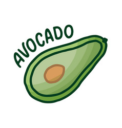 hand drawn icon with avocado doodle for print vector image
