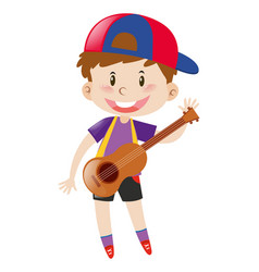Happy boy with ukulele vector