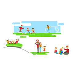 happy family having good time together set vector image
