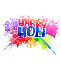 Happy holi design with watercolor splash vector
