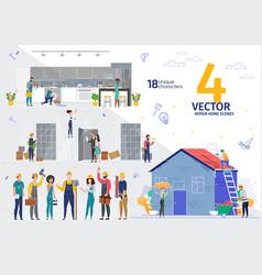 home repair renovation company work scenes vector image