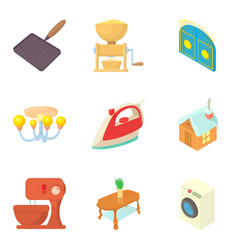 Household utensils icons set cartoon style vector