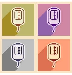 Icons of assembly blood transfusion in flat style vector