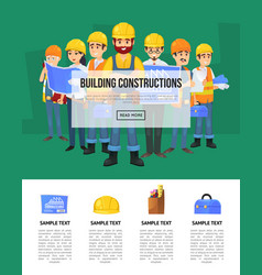 Industrial building company banner with worker vector