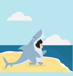 kid in shark costume with summer beach vector image