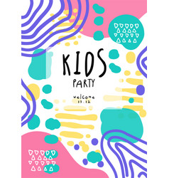 Kids party colorful template with date can be vector
