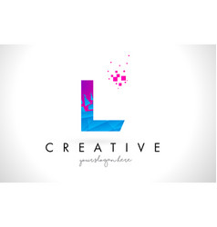 L letter logo with shattered broken blue pink vector