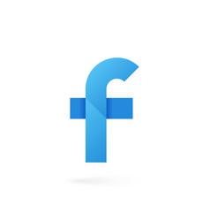 Letter f logo on white alphabet background vector