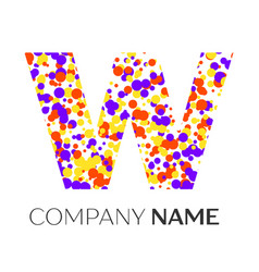 Letter w logo with blue yellow red particles vector