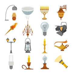 Lighting elements icon set vector