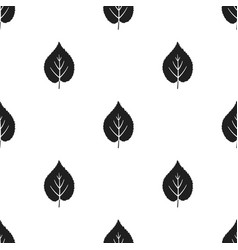 linden leaf icon in black style for web vector image