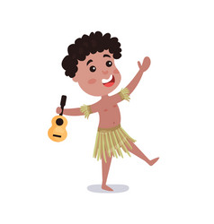 little boy wearing loincloth holding guitar vector image