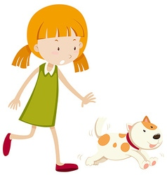 Little girl chasing a puppy vector image