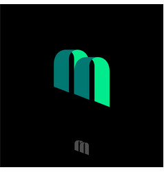 m letter monogram green ribbon vector image