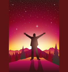 Man figure with open arms on top of hills vector