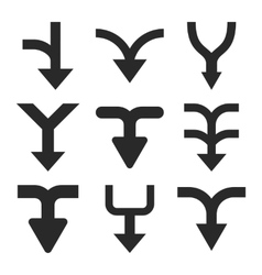 Merge Arrows Down Flat Icon Set vector