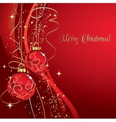 Merry Christmas card with red bauble vector image