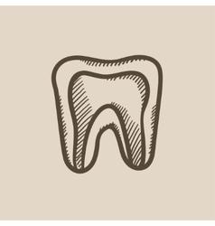 Molar tooth sketch icon vector