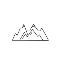 Mountains thin line icon concept mountains linear vector