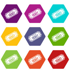 movie ticket icon set color hexahedron vector image