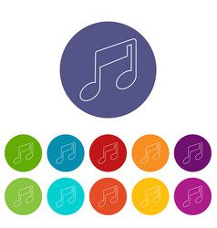 Music note icons set color vector