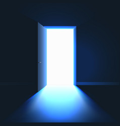 Open door in dark room symbol hope solution or vector