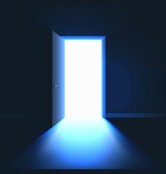 Open door in dark room symbol hope solution vector