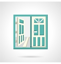Open glass doors flat icon vector image