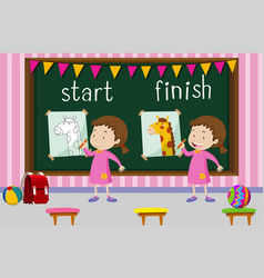 Opposite words for start and finish with girl vector