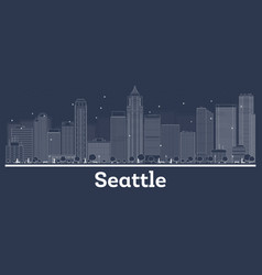 outline seattle washington city skyline with vector image