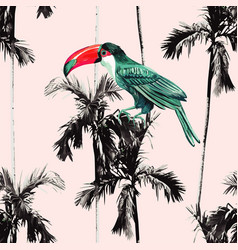 palm trees and toucan seamless background vector image